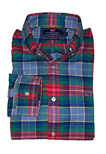 Vineyard Vines Men's Slim Fit Whale Shirt Button Down Dress Shirt (Large, Greenhedge Plaid Flannel) (Men Vest Vineyard Vines)