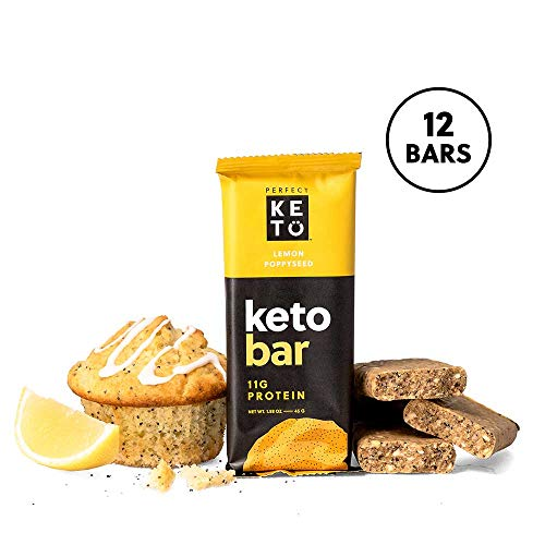 Perfect Keto Bar, Keto Snack (12 Count), No Added Sugar. 10g of Protein, Coconut Oil, and Collagen, with a Touch of Sea Salt and Stevia. (12 Bars, Lemon Poppyseed)