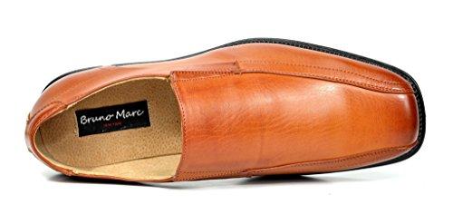Bruno Marc Robe Formelle En Cuir Doublée Mocassins Chaussures Marron