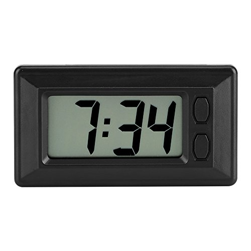 Zerodis 77x42.4x17.7 mm Ultra-Thin Electronic Clock with Adhesive Pad LCD Digital Date Time Calendar Display for Car Dashboard Home Desk -