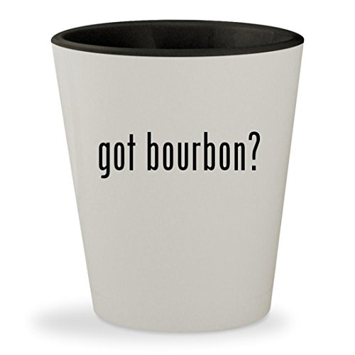 got bourbon? - White Outer & Black Inner Ceramic 1.5oz Shot - Whiskey Kentucky Straight Buffalo Bourbon Trace