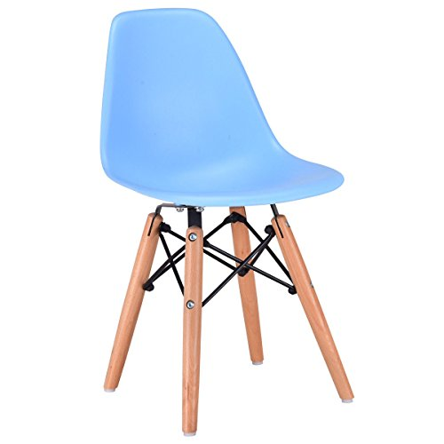 (Costzon Kids Dining Chair, Modern Molded Shell Chair with Dowel Wood Eiffel Legs)
