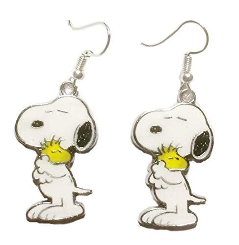 Snoopy Holding Woodstock Enamel Metal French Wire Earrings -