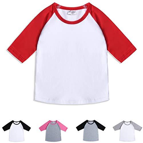 CloudCreator Toddler Baby Girls Boys 3/4 Sleeve Shirts Raglan Shirt Baseball Tee Cotton T-Shirt (Red&White, 1-2 Years) ()
