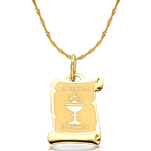 14K Yellow Gold Communion Charm Pendant with 1.8mm Singapore Chain Necklace - 18