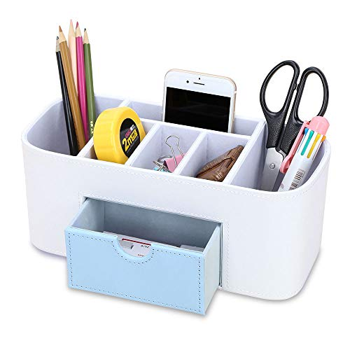 KINGFOM 6 Slot Pu Leather Leather Pen and Pencil Desk Office Organizer, Cell Phone Remote Control Holder, Makeup Skincare Supplies Holder with Jewelry Collection T Drawer (White + Blue Drawer)