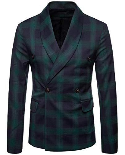Tootless-Men Gentleman Oversized Double-Breasted Longline Tuxedo Suit Green L ()