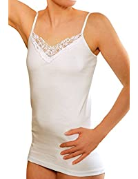 Women's Cotton Undershirt Spaghetti Strap with Lace (Pack of 4)