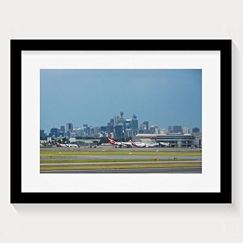 ZhiqianDF Funniest Sydney Australia March Sydney Airport With The Sydney Cbd In Background Framed Wall Art - Airport Shopping Sydney