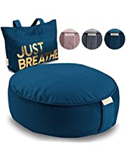 Buckwheat Meditation Cushion Round Zafu Yoga Pillow - Zafu Meditation Cushion Velvet with Zippered Organic Cotton Liner to Add or Remove Hulls | Machine Washable - Free Carry Bag