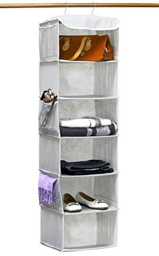 simplehouseware 6 shelves hanging closet organizer, gray