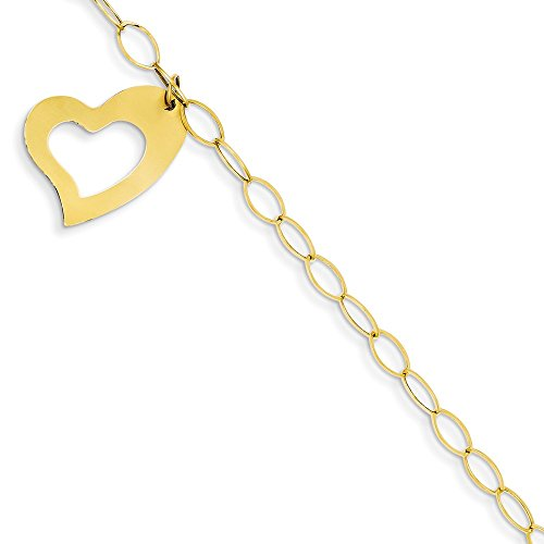 14k Bracelet Oval Charm (Jewel Tie 14k Gold Oval Link with Heart Charm Bracelet with Spring Ring (3.9mm) - Yellow-Gold, 7.5 in)