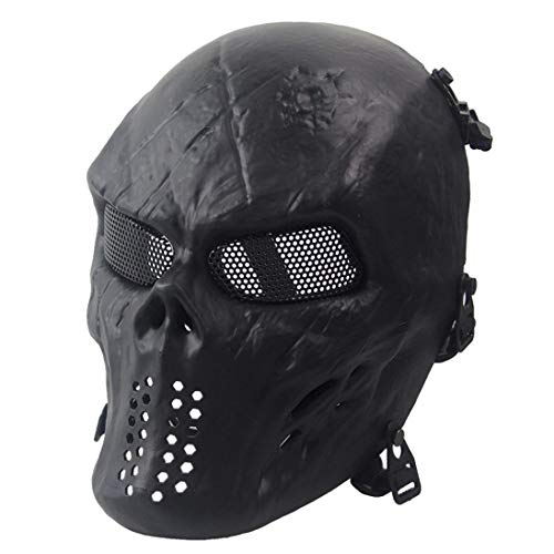 Bolayu Airsoft Paintball Skull Skeleton CS Mask Tactical Military Halloween Mask (Black)