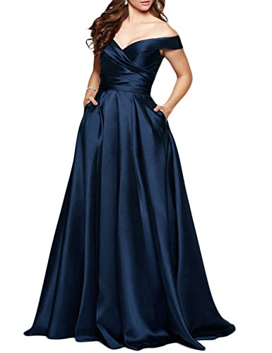BEAUTBRIDE Women's Off Shoulder Long Prom Dress Evening Gown with Pocket Navy Blue 12