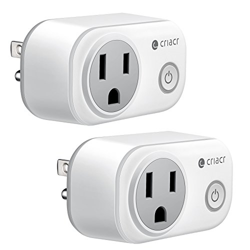Price comparison product image Criacr Mini Smart Plug, WiFi Wireless Control Sockets with Energy Monitoring, Timing Function, Work with Amazon Alexa and Google Home, Remote Control by Smartphone from Anywhere (2 PACK, White)