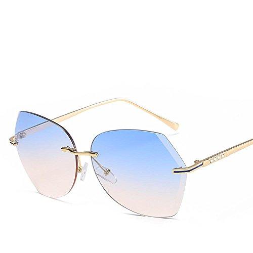 Aoligei Film couleur océan sans frame lunettes de soleil fashion diamants cadre métallique Dame lunettes de soleil mode lunettes de soleil E