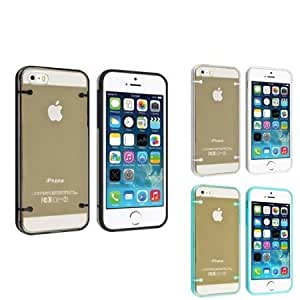 Quaroth Everydaysource compatible with Apple iPhone 5 / 5S, 3 Packs Snap-in Slim Case Combo Clear with Black Trim /...