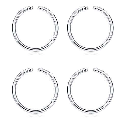 Sllaiss 4Pcs 22g Tiny Open Nose Hoop Rings for Women Men S925 Sterling Silver Adjustable Septum Piercing Ring Cartilage Hoop 8mm Hypoallergenic Nose Rings Set