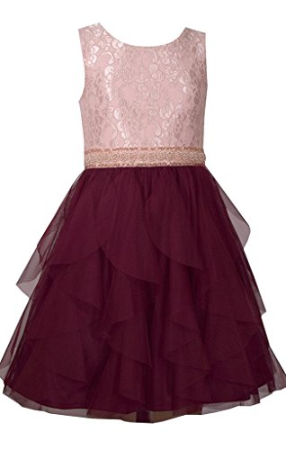 Bonnie Jean Sleeveless Dress with Ivory Bodice and Tiered Burgundy Chiffon Layered Skirt 5Y