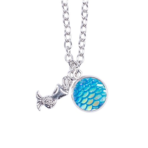 Myhouse Women Girls Colorful Fish Scales Pattern Mermaid Pendant Necklaces for Gifts Charms Findings (Blue)
