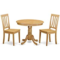East West Furniture ANTI3-OAK-W 3-Piece Kitchen Table Set, Oak Finish