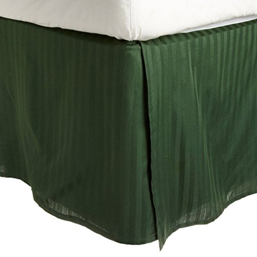 Superior Combed Cotton 300 Thread Count Bed Skirt Stripe, Hunter Green, - Green Bedskirt Stripe