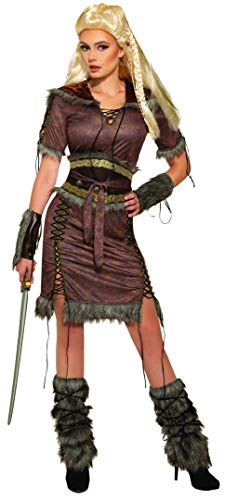 Forum Women's Viking Shield Maiden Costume, Brown,