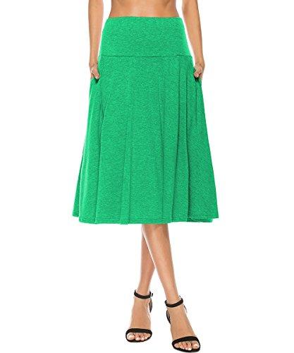 Skirt Spandex Reversible (YiLiQi Women's High Waist Knitted Pleated Pocket Midi Skirt Light Green-M)