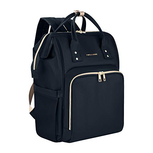 Amilliardi Fashion Diaper Bag Backpack - 4 Insulated Bottle Holder Up to 11 Oz Baby Bottles - Stroller Straps Included- Multi-Function - 10 Divisions - Nappy Bag Organizer (Black) ()
