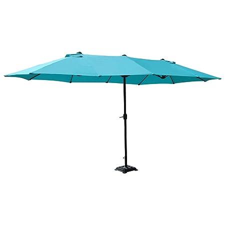 COBANA 15 ft Market Outdoor Umbrella Double-Sided Aluminum Table Patio Umbrella with Crank, Blue