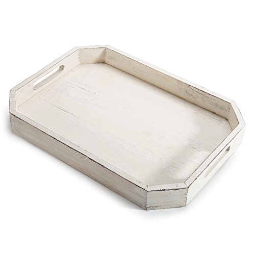 White Tray Distressed (MyGift Rustic Whitewashed Wood Serving Tray with Cut-out Handles and Angled Edges)