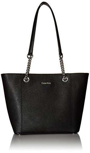 - Calvin Klein Hayden Saffiano Leather East/West Top Zip Chain Tote, Black