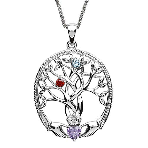 Customizable Irish Family Claddagh Tree of Life Birthstone Mother and 2 Children Pendant with Chain SP2247-2