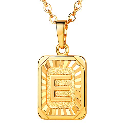 U7 Monogram Necklace A-Z 26 Letters Pendants 18K Gold/Platinum Plated Square Tiny Initial Necklaces for Women Girls…