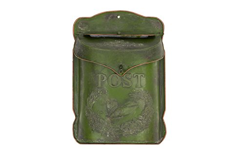 Creative Co-op Embossed Tin Letter Box, 10.5