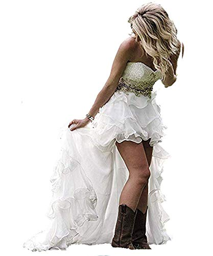 Modeldress High Low Country Weatern Wedding Dress for Bride Beaded Bodice Bridal Gown, White, 6 (High Low Wedding Dresses With Cowboy Boots)