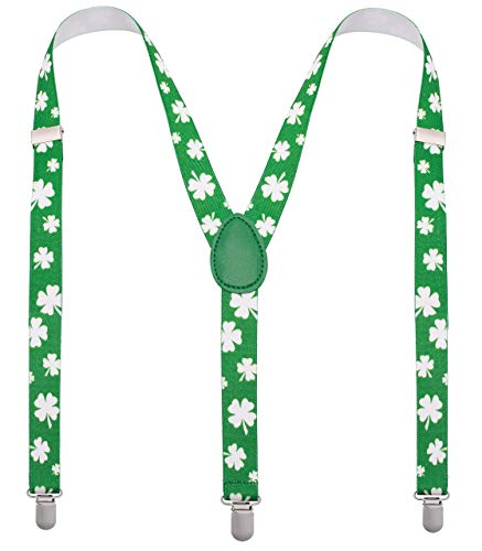 (St Patrick Day Men Suspenders - Green Mens Suspenders with White Shamrocks - Many Colors to Choose From)