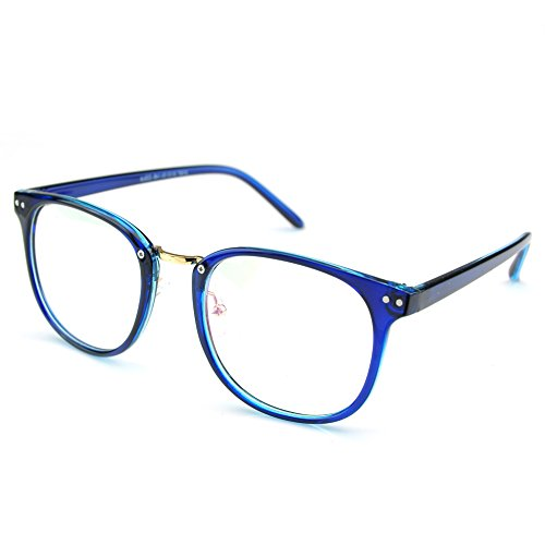PenSee Womens Fashion Oversized Clear Lens Round Circle Eye Glasses (Blue(Plastic - Eyeglass Frames Plastic Oval