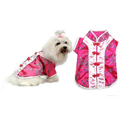 (Pink Chinese Cutie Dog Costume Traditional Asian Dress Fabric Woven Buttons (Size)