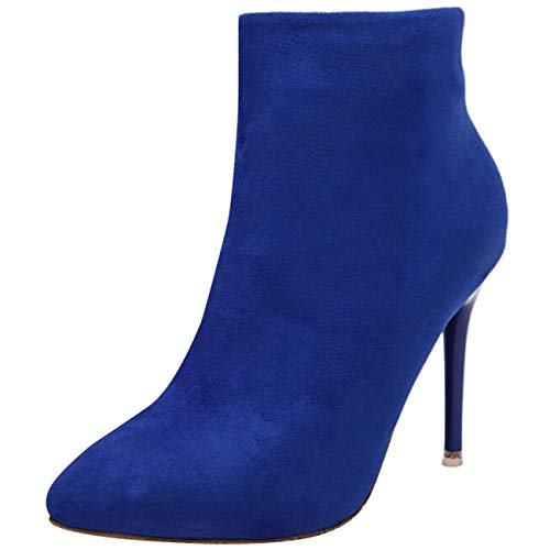 Stiletto Boots Mashiaoyi Blue Ankle Women's Pointed Zip Toe Suede SxSnUvqwZt