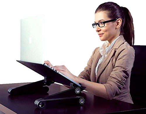 WorkEZ Best Adjustable Laptop Cooling Stand & Lap Desk for Bed Couch w/Mouse Pad. Ergonomic Height Angle tilt Aluminum Desktop Tray Portable MacBook pro Computer Riser Table Cooler Folding Holder