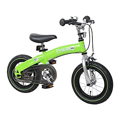 DalosDream - 12X 2-in-1 Balance to Pedal Bike Kit- Balance Bike Set with Steel Frame, Adjustable Handlebar and Seat Ages 3-7 Years (Green, 12X): Sports & Outdoors