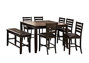 Crown Mark Elliot Casual Dining Room Set With Bar Table 6 X Bar
