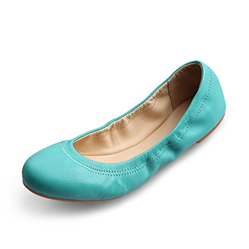 (Xielong Women's Chaste Ballet Flat Lambskin Loafers Casual Ladies Shoes Leather Blue 9.5)