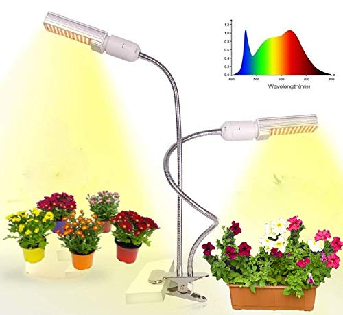 ABCreative LED Plant Grow Lights for Indoor Plants 45W Full Spectrum Sunlike Replacement Plant Light|3/6/12H Timer 5 Dimmable Levels 3 Switch Modes Sunlike Full Spectrum,Adjustable Gooseneck