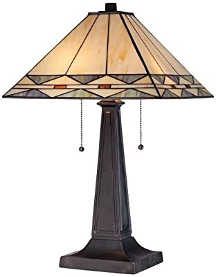 Mission Square Art Glass and Bronze Table Lamp