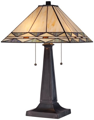 Mission Square Art Glass and Bronze Table - Lamp Brown Glass Table Art