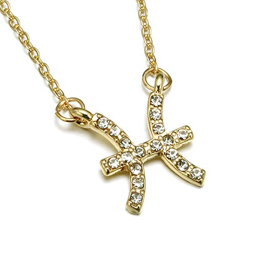 (Gold Zodiac Necklace, Rhinestone Encrusted Pisces Constellation Sign Necklaces for Women)