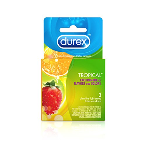 Durex Condom Tropical Natural Latex Condoms, 3 Count - An exciting mix of flavors and colors