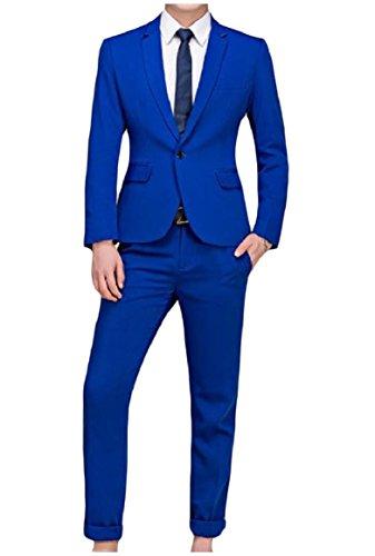 Howme Men Pure Color Nightclub Tuxedo Big and Tall Blazer Coat Jacket Sapphire Blue M (Sapphire Tuxedo)